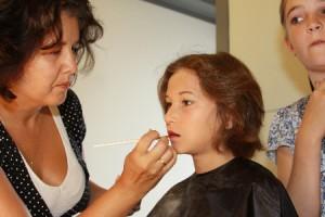 Charita met lippenstift